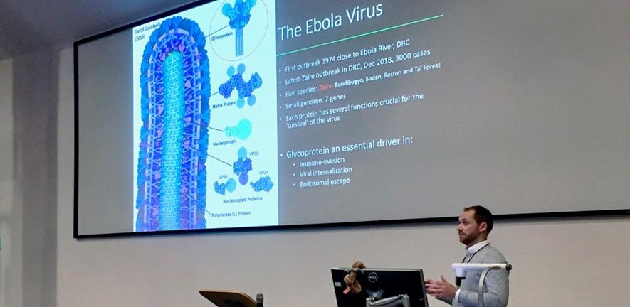 Third year PhD student Michael Scherm presents on the activation of signalling complexes by the Ebola virus glycoprotein