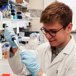 Keir Murison in the laboratory