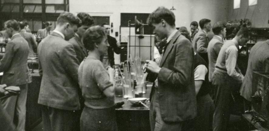Holmes and Synge demonstrating for the 1937-1938 Part I Class