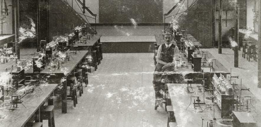 H.W. Hall in the classroom in the Corn Exchange Street building, c1920