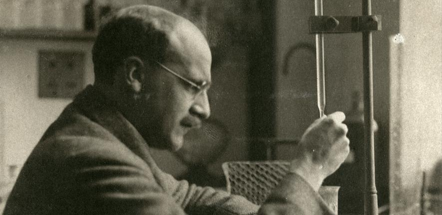 J.B.S. Haldane in the laboratory, c1930