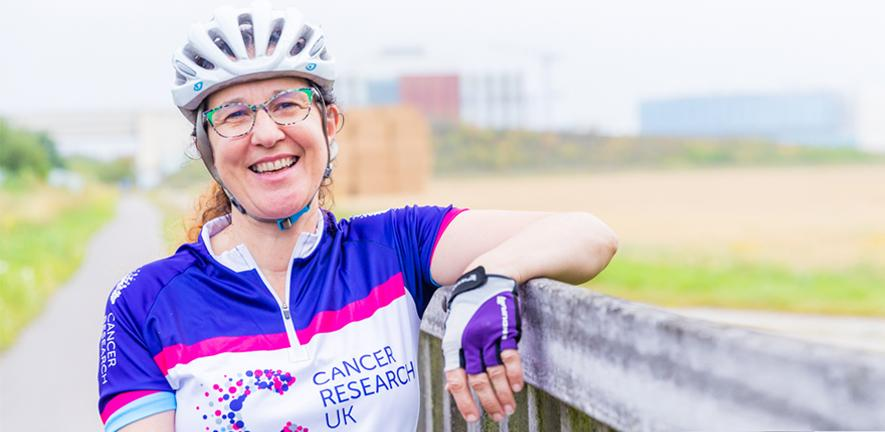 Dr Helen Mott preparing for the Cancer Research UK Cycle 300 challenge.