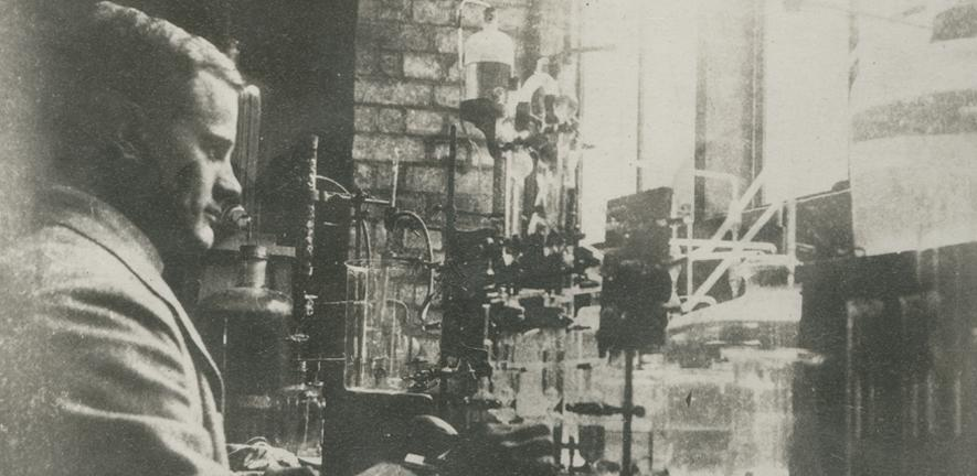 W.M. Fletcher with his apparatus for studying respiration of isolated muscles, c1900