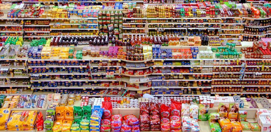 Food packaging in a supermarket.